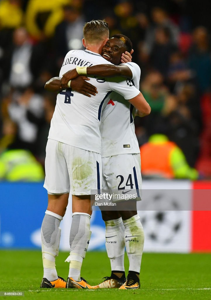 Toby Alderweireld of Tottenham Hotspur and Christian Eriksen of Tottenham Hotspur celebrates victory together after the UEFA Champions League group H match between Tottenham Hotspur and Borussia Dortmund at Wembley Stadium on September 13, 2017 in London, United Kingdom.