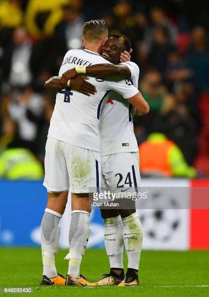 Toby Alderweireld of Tottenham Hotspur and Christian Eriksen of Tottenham Hotspur celebrates victory together after the UEFA Champions League group H...