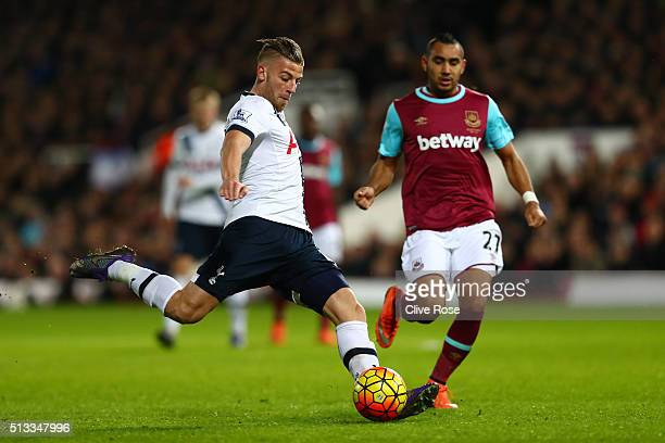 Toby Alderweireld of Tottenham Hotspur and Dimitri Payet of West Ham United in action during the Barclays Premier League match between West Ham...