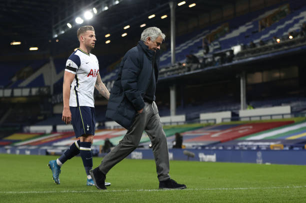 Toby Alderweireld of Tottenham Hotspur and Jose Mourinho, Manager of Tottenham Hotspur looks dejected following their side's defeat in the Premier...