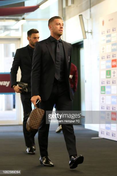 Toby Alderweireld of Tottenham Hotspur arrives at the stadium prior to the Premier League match between West Ham United and Tottenham Hotspur at...