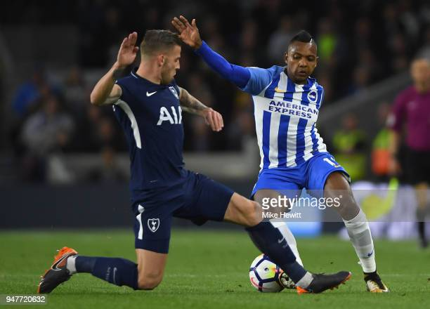 Toby Alderweireld of Tottenham Hotspur battles for possesion with Jose Izquierdo of Brighton and Hove Albion during the Premier League match between...