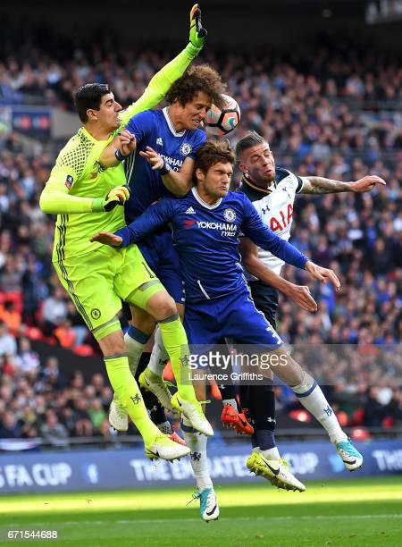 Toby Alderweireld of Tottenham Hotspur battles with the chelsea defence during The Emirates FA Cup SemiFinal between Chelsea and Tottenham Hotspur at...