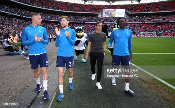 Toby Alderweireld of Tottenham Hotspur Ben Davies of Tottenham Hotspur Harry Winks of Tottenham Hotspur and Victor Wanyama of Tottenham Hotspur enjoy...