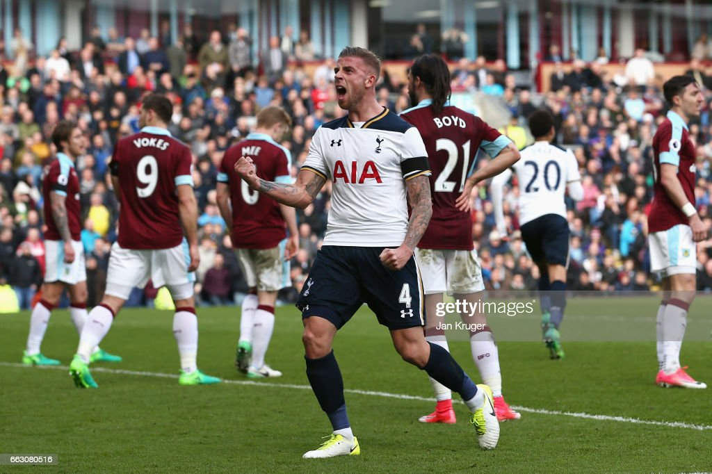 Toby Alderweireld of Tottenham Hotspur celebrates after his team mate Eric Dier of Tottenham Hotspur (not pictured) scored his sides first goal uring the Premier League match between Burnley and Tottenham Hotspur at Turf Moor on April 1, 2017 in Burnley, England.
