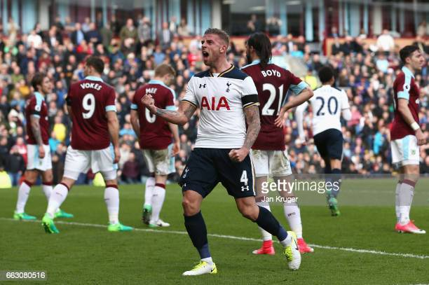 Toby Alderweireld of Tottenham Hotspur celebrates after his team mate Eric Dier of Tottenham Hotspur scored his sides first goal uring the Premier...
