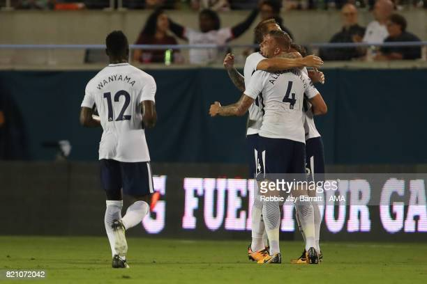 Toby Alderweireld of Tottenham Hotspur celebrates after scoring a goal to make it 24 during the International Champions Cup match between Paris...