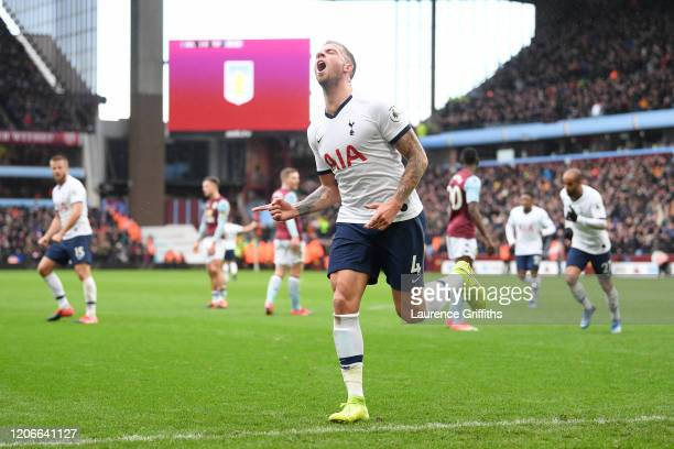 Toby Alderweireld of Tottenham Hotspur celebrates after scoring his sides first goal during the Premier League match between Aston Villa and...