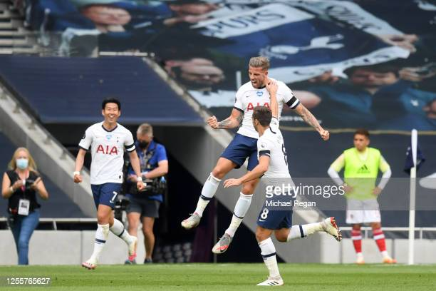 Toby Alderweireld of Tottenham Hotspur celebrates after scoring his sides second goal during the Premier League match between Tottenham Hotspur and...