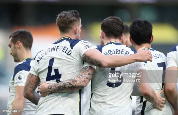 Toby Alderweireld of Tottenham Hotspur celebrates after scoring their third goal with Pierre-Emile Hojbjerg during the Premier League match between...