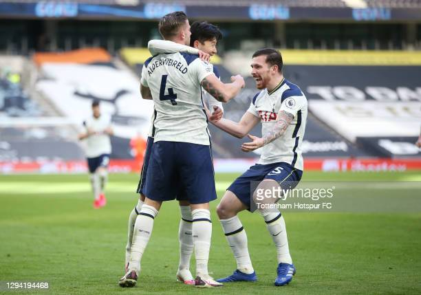 Toby Alderweireld of Tottenham Hotspur celebrates after scoring their third goal with Heung-Min Son and Pierre-Emile Hojbjerg during the Premier...