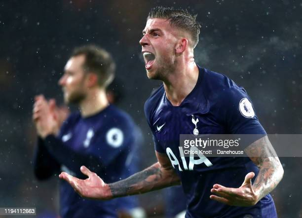 Toby Alderweireld of Tottenham Hotspur celebrates after the Premier League match between Wolverhampton Wanderers and Tottenham Hotspur at Molineux on...