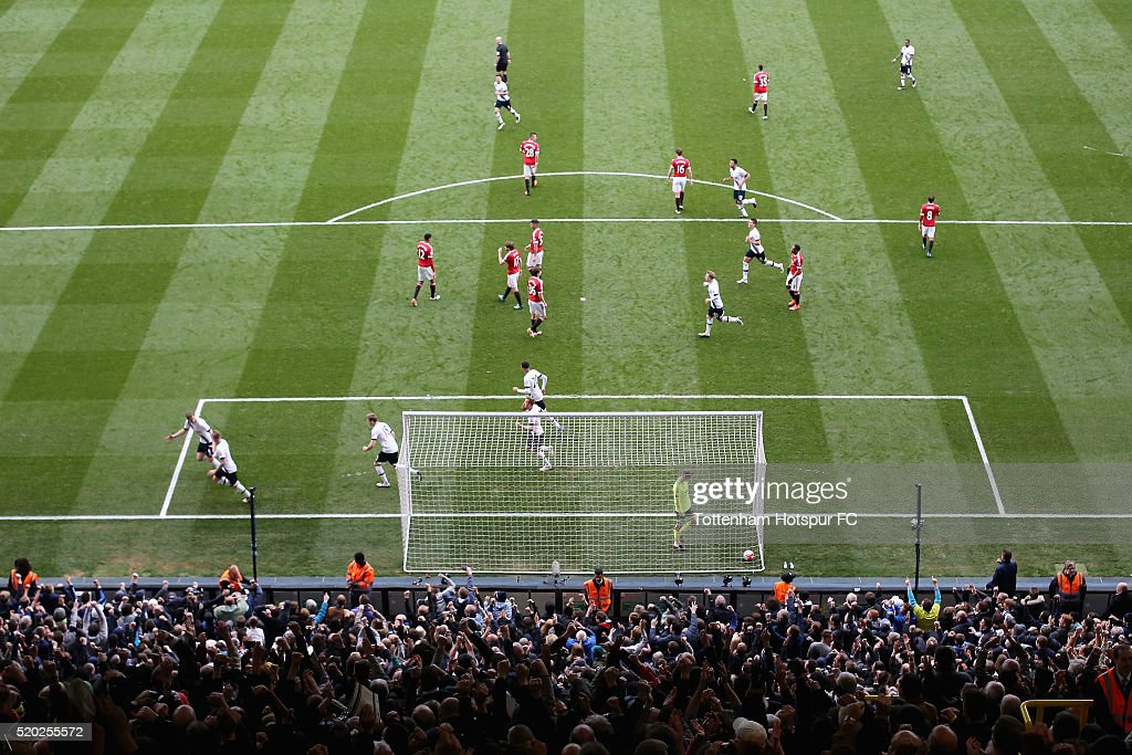 Toby Alderweireld of Tottenham Hotspur celebrates as he scores the second goal during the Barclays Premier League match between Tottenham Hotspur and Manchester United at White Hart Lane on April 10, 2016 in London, England.