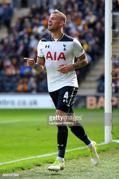 Toby Alderweireld of Tottenham Hotspur celebrates scoring his sides seventh goal during the Premier League match between Hull City and Tottenham...