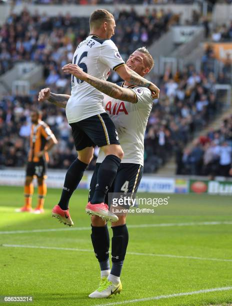 Toby Alderweireld of Tottenham Hotspur celebrates scoring his sides seventh goal with Kieran Trippier of Tottenham Hotspur during the Premier League...