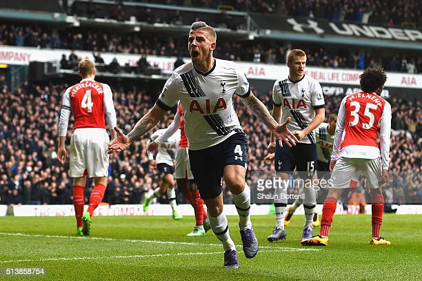 Toby Alderweireld of Tottenham Hotspur celebrates scoring his team's first goal during the Barclays Premier League match between Tottenham Hotspur...