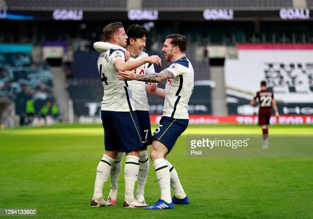 Toby Alderweireld of Tottenham Hotspur celebrates with teammates Pierre-Emile Hojbjerg and Son Heung-Min of Tottenham Hotspur after scoring their...