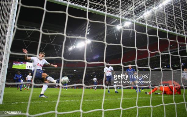 Toby Alderweireld of Tottenham Hotspur clears the ball off the line after a save from Paulo Gazzaniga during the Carabao Cup semifinal first leg...