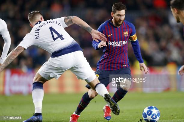 Toby Alderweireld of Tottenham Hotspur FC Lionel Messi of FC Barcelona during the UEFA Champions League group B match between FC Barcelona and...