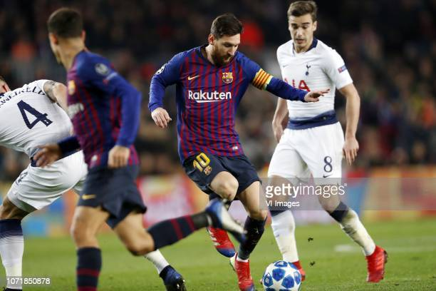 Toby Alderweireld of Tottenham Hotspur FC Lionel Messi of FC Barcelona Harry Winks of Tottenham Hotspur FC during the UEFA Champions League group B...