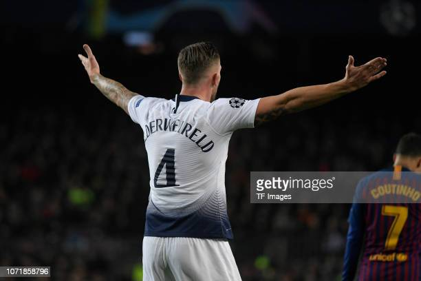 Toby Alderweireld of Tottenham Hotspur gestures during the UEFA Champions League Group B match between FC Barcelona and Tottenham Hotspur at Camp Nou...