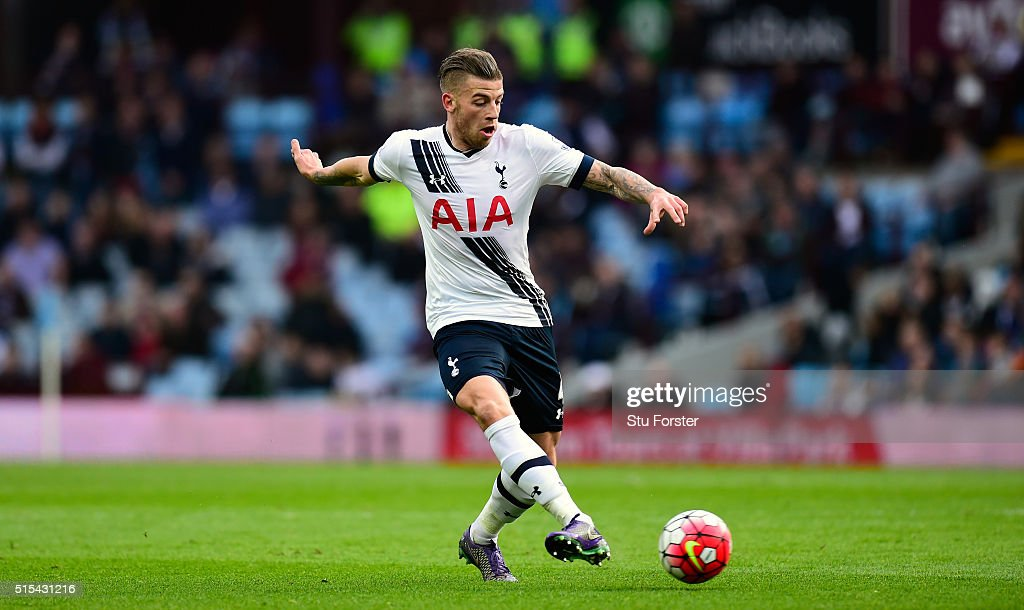 Toby Alderweireld of Tottenham Hotspur in action during the Barclays Premier League match between Aston Villa and Tottenham Hotspur at Villa Park on March 13, 2016 in Birmingham, England.