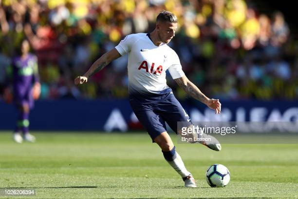 Toby Alderweireld of Tottenham Hotspur in action during the Premier League match between Watford FC and Tottenham Hotspur at Vicarage Road on...