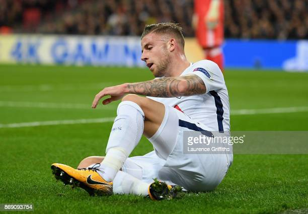 Toby Alderweireld of Tottenham Hotspur is injured during the UEFA Champions League group H match between Tottenham Hotspur and Real Madrid at Wembley...