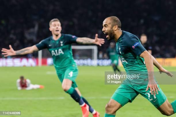 Toby Alderweireld of Tottenham Hotspur Lucas Moura of Tottenham Hotspur during the UEFA Champions League semi final match Ajax Amsterdam and...