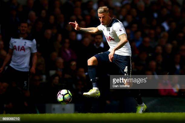Toby Alderweireld of Tottenham Hotspur passes the ball during the Premier League match between Tottenham Hotspur and AFC Bournemouth at White Hart...