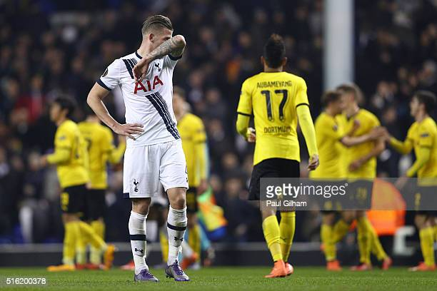 Toby Alderweireld of Tottenham Hotspur reacts after defeat in the UEFA Europa League round of 16 second leg match between Tottenham Hotspur and...