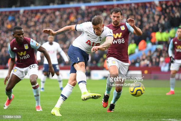 Toby Alderweireld of Tottenham Hotspur scores his sides first goal during the Premier League match between Aston Villa and Tottenham Hotspur at Villa...