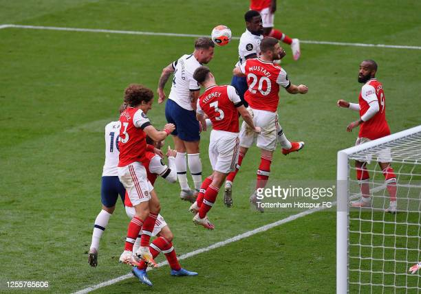 Toby Alderweireld of Tottenham Hotspur scores his sides second goal during the Premier League match between Tottenham Hotspur and Arsenal FC at...