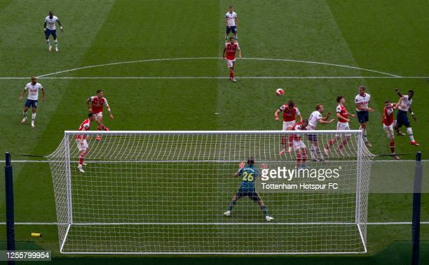 Toby Alderweireld of Tottenham Hotspur scores his team's second goal during the Premier League match between Tottenham Hotspur and Arsenal FC at...
