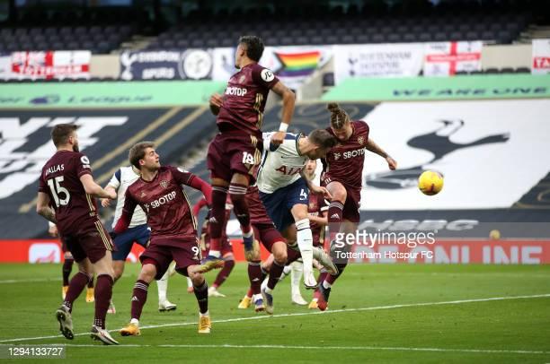 Toby Alderweireld of Tottenham Hotspur scores their team's third goal during the Premier League match between Tottenham Hotspur and Leeds United at...