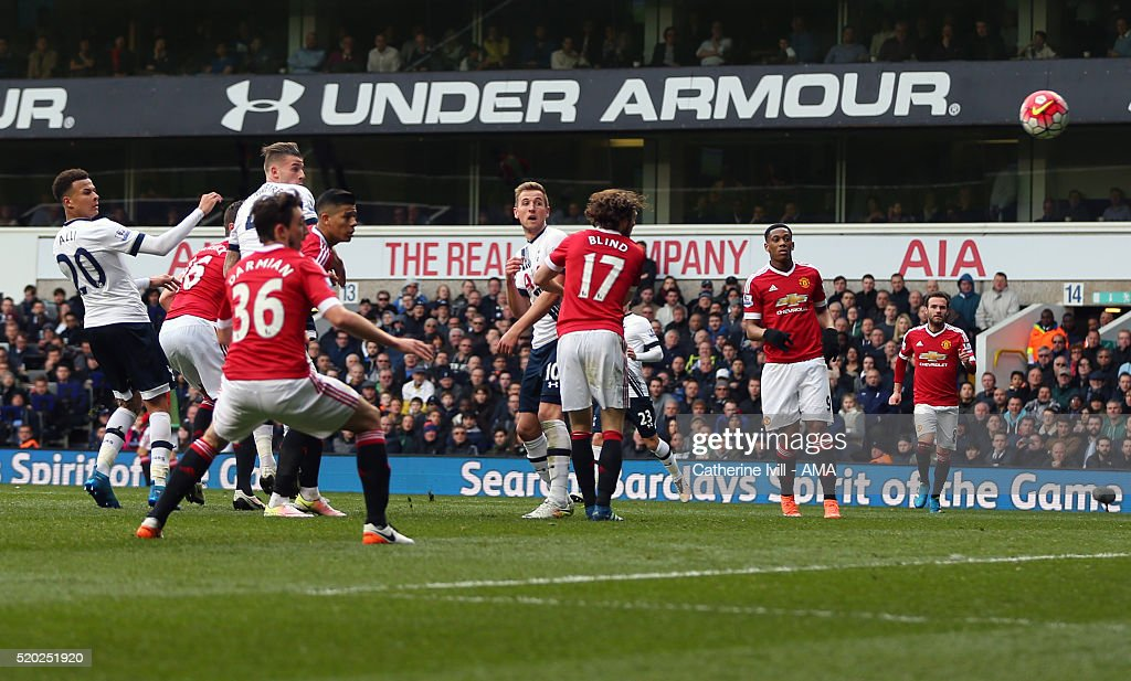 Toby Alderweireld of Tottenham Hotspur scores to make it 2-0 during the Barclays Premier League match between Tottenham Hotspur and Manchester United at White Hart Lane on April 10, 2016 in London, England.