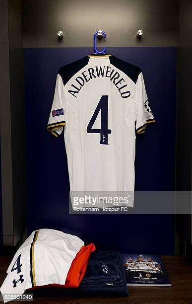 Toby Alderweireld of Tottenham Hotspur shirt hangs in the changing room prior to kick off during the UEFA Champions League Group E match between...