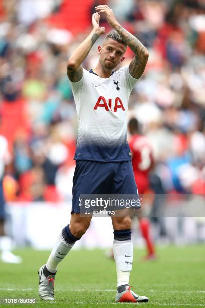 Toby Alderweireld of Tottenham Hotspur shows appreciation to the fans after the Premier League match between Tottenham Hotspur and Fulham FC at...