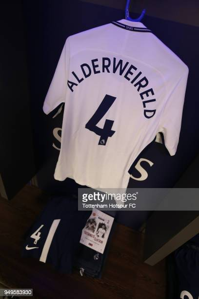 Toby Alderweireld of Tottenham Hotspur's shirt is seen inside the dressing room prior to The Emirates FA Cup Semi Final match between Manchester...