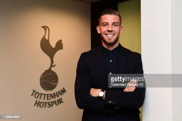 Toby Alderweireld poses after signing a new contract for Tottenham Hotspur at Tottenham Hotspur's Training Ground on December 19, 2019 in Enfield,...