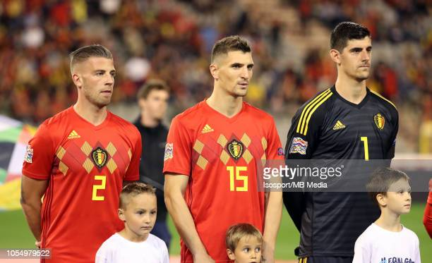Toby Alderweireld Thomas Meunier and Thibaut Courtois pictured during the UEFA Nations League A group two match between Belgium and Switzerland at...