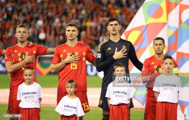 Toby Alderweireld Thomas Meunier Thibaut Courtois and Eden Hazard pictured during the UEFA Nations League A group two match between Belgium and...