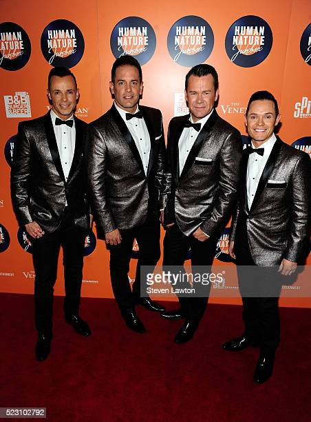 Toby Allen Andrew Tierney Phil Burton and Michael Tierney of Human Nature attend the opening night of Human Nature's residency JUKEBOX at The...