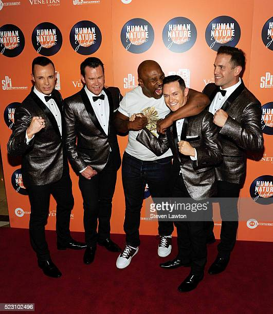 Toby Allen Andrew Tierneyformer boxer Mike Tyson Phil Burton and Michael Tierney of the Australian vocal group Human Nature attend the opening night...