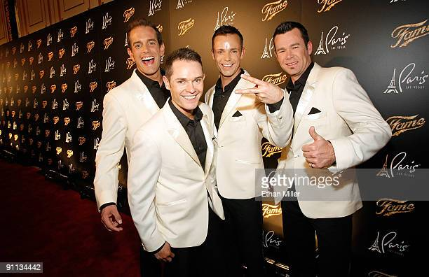 Toby Allen Michael Tierney Andrew Tierney and Phil Burton of the Australian vocal group Human Nature arrive at a screening of 'Fame' at the Paris Las...