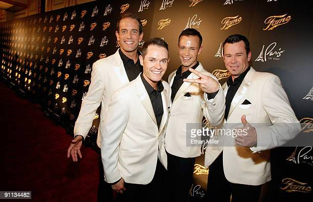 Toby Allen Michael Tierney Andrew Tierney and Phil Burton of the Australian vocal group Human Nature arrive at a screening of Fame at the Paris Las...