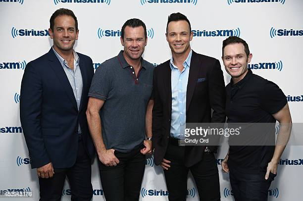 Toby Allen Phil Burton Andrew Tierney and Michael Tierney of the Australian vocal group Human Nature visit the SiriusXM Studios on August 13 2015 in...