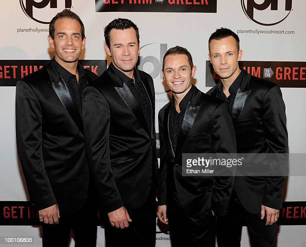 Toby Allen Phil Burton Michael Tierney and Andrew Tierney of the Australian vocal group Human Nature arrive at a screening of Universal Pictures' Get...