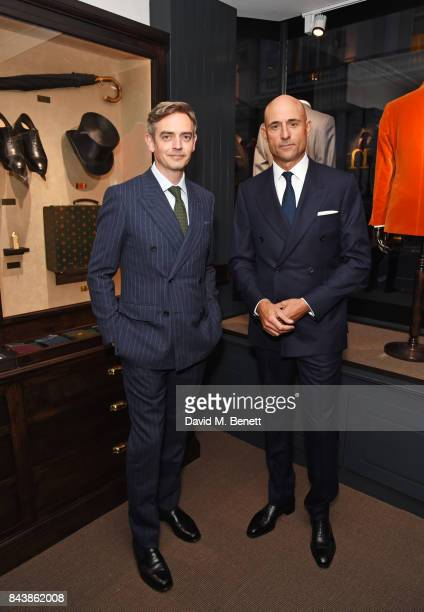 Toby Bateman and Mark Strong attend the launch of the 'Kingsman' shop on St James's Street in partnership with MR PORTER MARV Twentieth Century Fox...