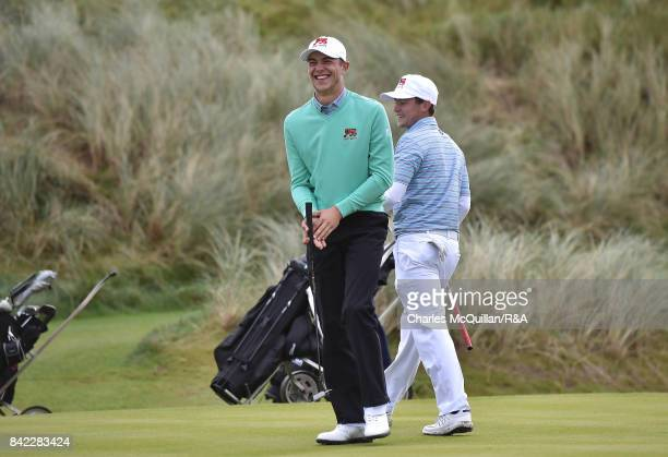 Toby Briggs and Alex Fitzpatrick of GB and Ireland during the morning foursomes matches as the Jacques Leglise Trophy golf tournament between GB...